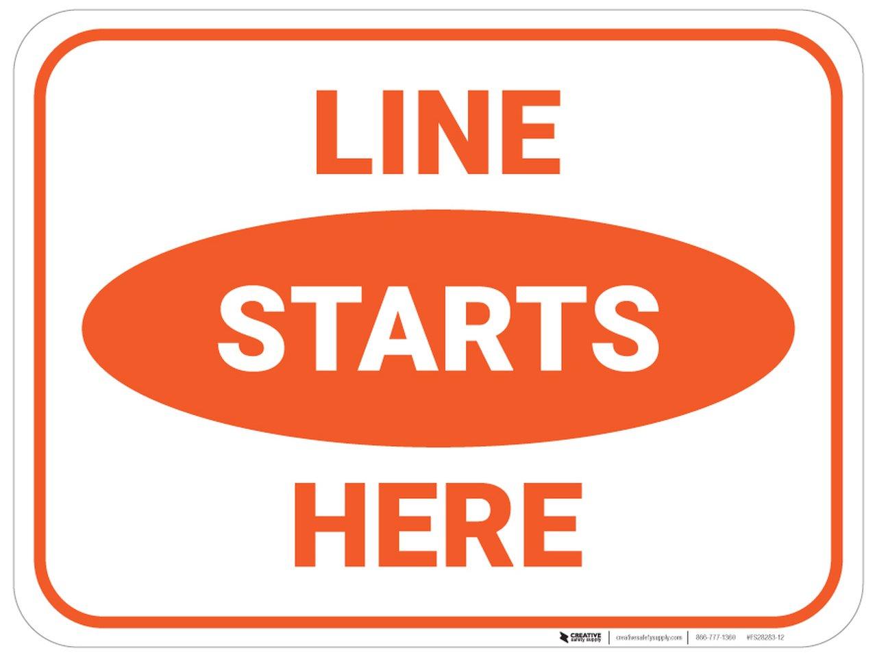 Orange Line Starts Here Floor Sign